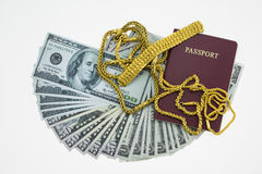Banknotes and passport on white background, pocket money and prepare for travel Royalty Free Stock Photography