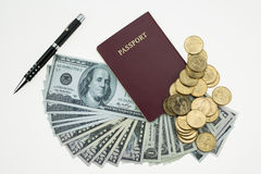 Banknotes and passport on white background, pocket money and prepare for travel Stock Images