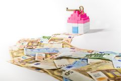 Free Banknotes Path Miniature House With Key Stock Image - 33004751