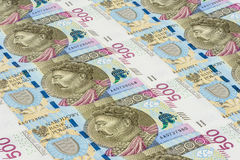 Banknotes of 500 pln laying in a row Stock Image