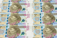 Banknotes of 500 pln laying in a row Royalty Free Stock Photos