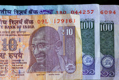Banknotes of the Republic of India. Portrait of Mahatma Gandhi on the official indian currency. Stock Photos
