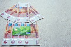 Banknotes of 5000 Russian rubles background stock photos