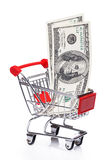 Banknotes in small shopping trolley Royalty Free Stock Images