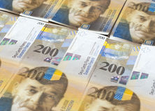 Banknotes of Swiss francs as background Royalty Free Stock Photo