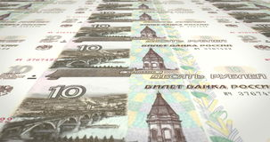 Banknotes of ten rubles russians rolling on screen, cash money, loop stock footage