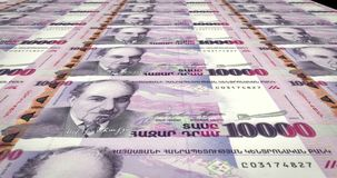 Banknotes of ten thousand armenian drams of Armenia rolling, cash money. Series of banknotes of ten thousand armenian drams of the bank of Armenia rolling on vector illustration