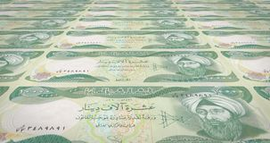 Banknotes of ten thousand dinars iraq rolling, cash money, loop. Series of banknotes of ten thousand iraqi dinars of the central bank of Iraq rolling on screen vector illustration