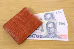 Banknotes of Thailand in wallet. Royalty Free Stock Photography