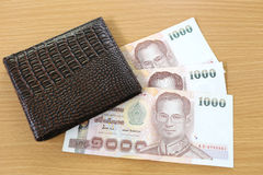 Banknotes of Thailand in wallet. Stock Images