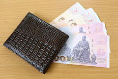 Banknotes of Thailand in wallet. Royalty Free Stock Image