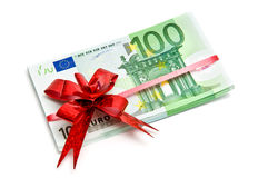 Banknotes tied red ribbon Stock Image