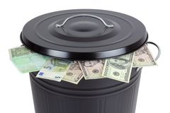Banknotes in a trash can Stock Photography