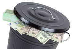 Banknotes in a trash can