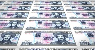 Banknotes of twenty cuban pesos of central bank of Cuba, cash money, loop. Series of banknotes of twenty cuban pesos of the central bank of Cuba island in stock illustration