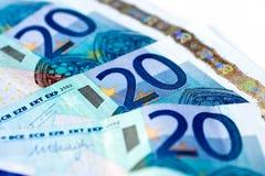 Banknotes of twenty euro Stock Photos