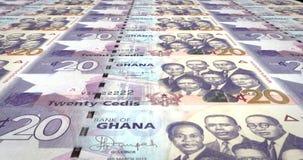 Banknotes of twenty Ghanaian cedis of Ghana, cash money, loop. Series of banknotes of twenty Ghanaian cedis of the Bank of Ghana in Africa rolling on screen stock illustration
