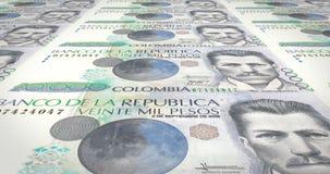 Banknotes of twenty thousand colombian pesos of Colombia, cash money, loop. Series of banknotes of twenty thousand colombian pesos of the bank of Colombia royalty free illustration