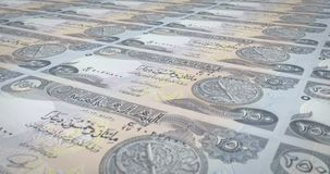 Banknotes of two thousand five hundred dinars iraq rolling, cash money, loop. Series of banknotes of two thousand five hundred iraqi dinars of the central bank stock illustration