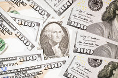 Banknotes $ 100 and  $ 1 US Royalty Free Stock Photography