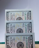 Banknotes of US dollar on canvas Stock Photos