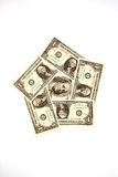 Banknotes $ 100 and US $ 1 on a white background Stock Photography