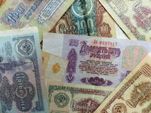 Banknotes of the USSR. Collection. Background with money signs. Closeup Stock Image