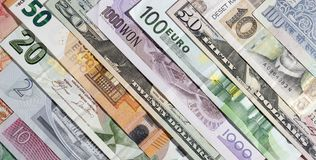 Banknotes of various currencies. Background of the banknotes of various currencies Stock Photos