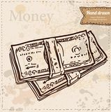 Banknotes vector illustration hand drawn Royalty Free Stock Photos