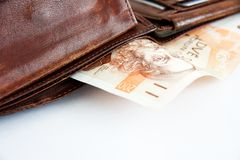 Banknotes in wallet Royalty Free Stock Photos