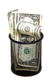 Banknotes in wastebasket Royalty Free Stock Images