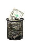Banknotes in wastebasket Stock Photography