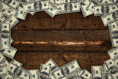 Banknotes on wooden background Royalty Free Stock Images