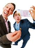 banknotu biznesmenów euro ogień przygotowywał set dwa Zdjęcia Royalty Free
