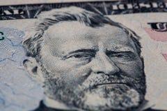 banknotu czarny dolarów pięćdziesiąt dotacja odizolowywał obrazka portret s Ulysses my biały Grant portret na 50 dolarowym rachun zdjęcia stock