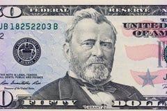 banknotu czarny dolarów pięćdziesiąt dotacja odizolowywał obrazka portret s Ulysses my biały Użycza na 50 dolarach rachunek makro zdjęcia stock