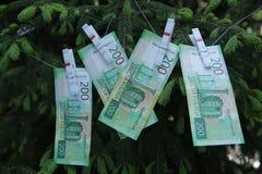Banknoty Dwie?cie Rosyjskich rubli Got?wkowy papierowy zielony pieni?dze na zielonej ?wierczynie obrazy stock