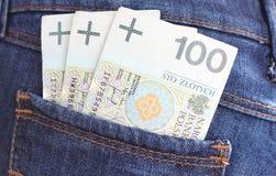 Banknoty i cajg kieszeń Obrazy Stock