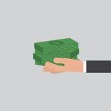 Banknoty W ręka biznesmena wektorze Fotografia Stock