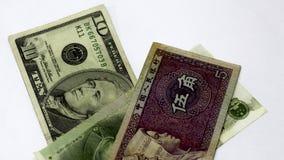 Bankof Cina Yuan contro il dollaro Scambio, mercato dei cambi o forex in Cina Vendita o acquisto degli yuan Parti di immagini stock