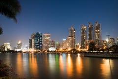 Bankok miasto przy mrocznym dobrym widokiem Obraz Stock