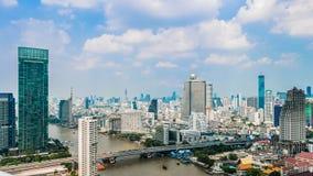 Bankok Sathon河沿 库存照片