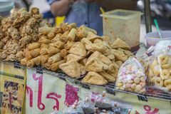 Fried tofu and snacks on street food Stock Images