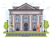 Bankoperaties Bank de bouwvoorgevel met kolommen De mensen dragen geld aan banken, gebruiken ATM en verzenden overschrijvingenvec royalty-vrije illustratie