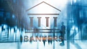 Bankowa biznesmena ludzie na abstrakcjonistycznym tle koncepcja finansowego ilustracja wektor