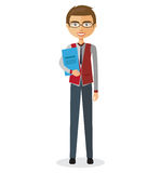 Bankowiec z szkłami i teczki kreskówki płaską ilustracją Obraz Royalty Free
