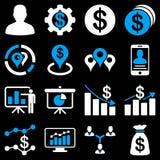 Bankowość biznes i map ikony Zdjęcia Royalty Free