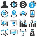 Bankowość biznes i map ikony Fotografia Royalty Free