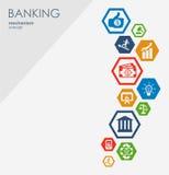 Bankowość mechanizm Abstrakcjonistyczny tło z związanymi przekładniami i zintegrowanymi płaskimi ikonami symbole dla pieniądze, s Fotografia Stock