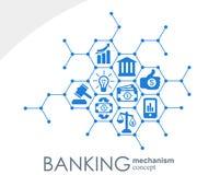 Bankowość mechanizm Abstrakcjonistyczny tło z związanymi przekładniami i zintegrowanymi płaskimi ikonami symbole dla pieniądze, k Zdjęcia Royalty Free